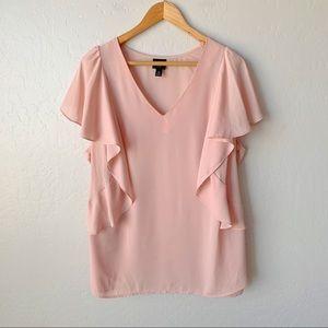 Blush Pink Flutter Sleeve Top - Size 2X